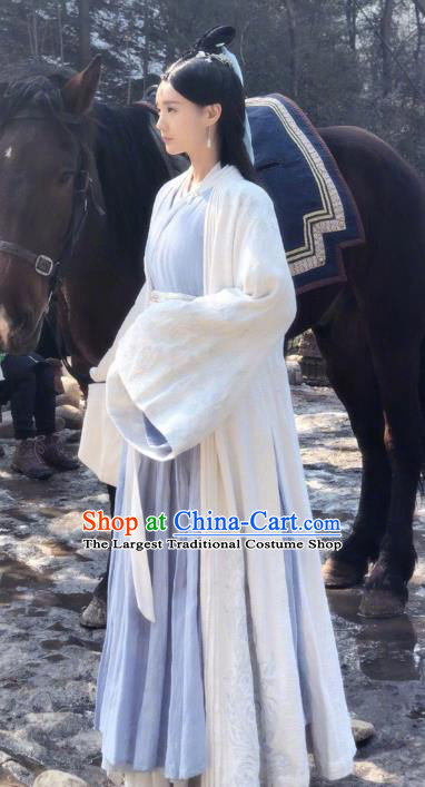 Chinese Ancient Noble Lady Zhangsuan Qianxue Dress Historical Drama Sword Dynasty Li Yitong Costume and Headpiece for Women