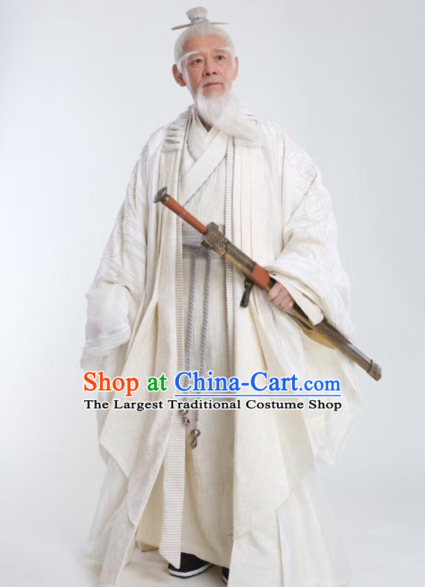 Drama Sword Dynasty Chinese Ancient Swordsman Xue Wangxu Costume and Headpiece Complete Set