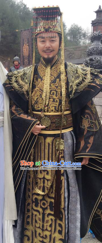 Drama Sword Dynasty Chinese Ancient King Heng Costume and Headpiece Complete Set