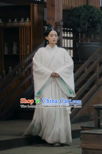 Chinese Ancient Female Swordsman White Dress Historical Drama Sword Dynasty Gongsun Qianxue Costume and Headpiece for Women