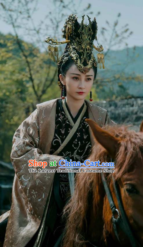 Chinese Ancient Court Queen Dress Historical Drama Sword Dynasty Ye Zhen Yao Di Costume and Headpiece for Women