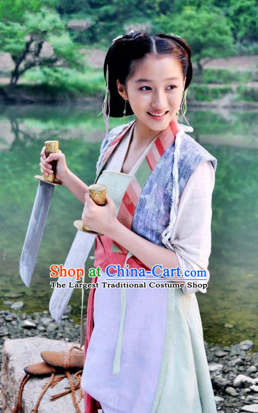 Chinese Ancient Tang Dynasty Female Civilian Shui Lian Dress Historical Drama Dagger Mastery Guan Xiaotong Costume and Headpiece for Women