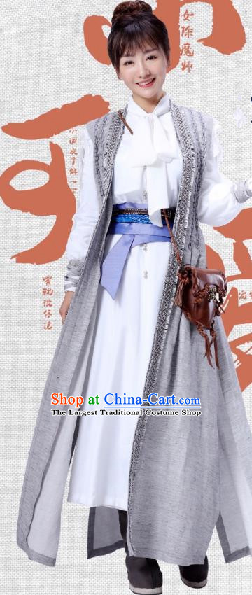 Chinese Ancient Female Master Dress Historical Drama Demon Catcher Ling Xi Costume and Headpiece for Women