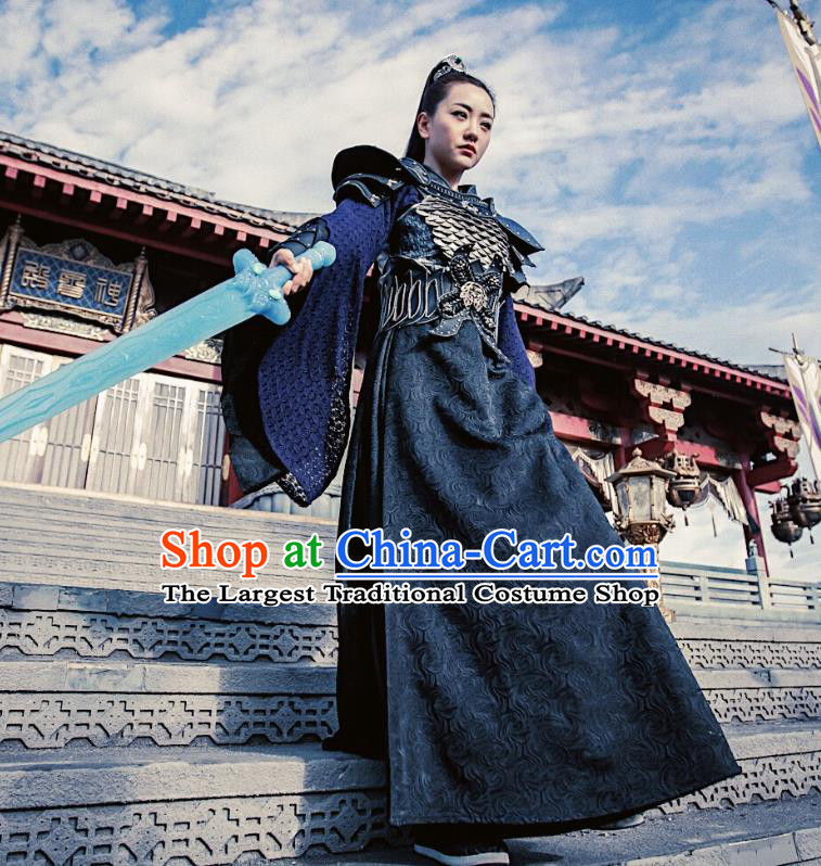 Chinese Ancient Female Swordsman Ling Xi Dress Historical Drama Demon Catcher Costume and Headpiece for Women