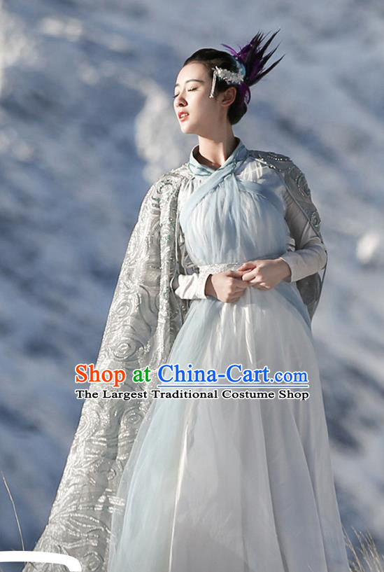 Chinese Ancient Goddess Jiu You Dress Historical Drama The Great Ruler Costume and Headpiece for Women