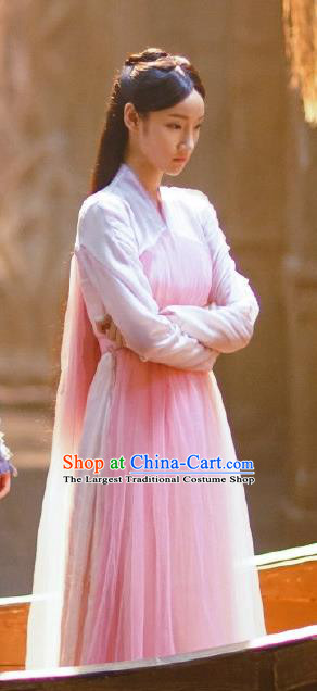 Chinese Ancient Female Swordsman Ye Sun Er Dress Historical Drama The Great Ruler Costume and Headpiece for Women