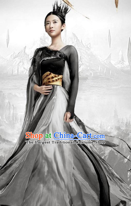 Chinese Ancient Female Swordsman Fairy Jiu You Dress Historical Drama The Great Ruler Costume and Headpiece for Women