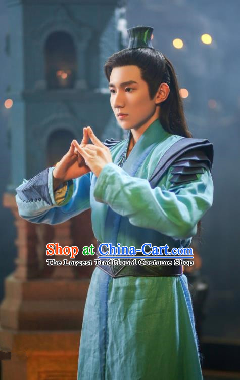 Drama The Great Ruler Chinese Ancient Young Knight Swordsman Mu Chen Costume and Headpiece Complete Set