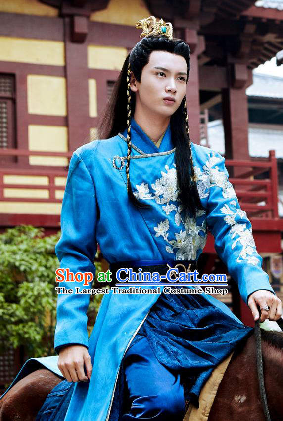 Drama Cinderella Chef Chinese Ancient Swordsman He Lianjing Costume and Headpiece Complete Set