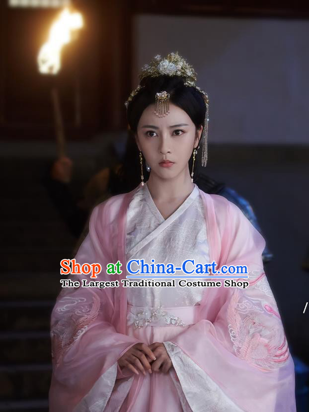 Chinese Ancient Princess Liu Li Dress Historical Drama Cinderella Chef Costume and Headpiece for Women