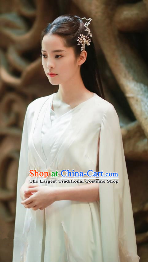 Chinese Ancient Goddess Swordsman Luo Li White Dress Historical Drama The Great Ruler Nana Ouyang Costume and Headpiece for Women
