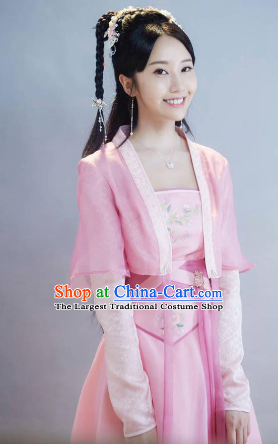 Chinese Ancient Young Lady Sheng Sheng Pink Dress Historical Drama Cinderella Chef Costume and Headpiece for Women