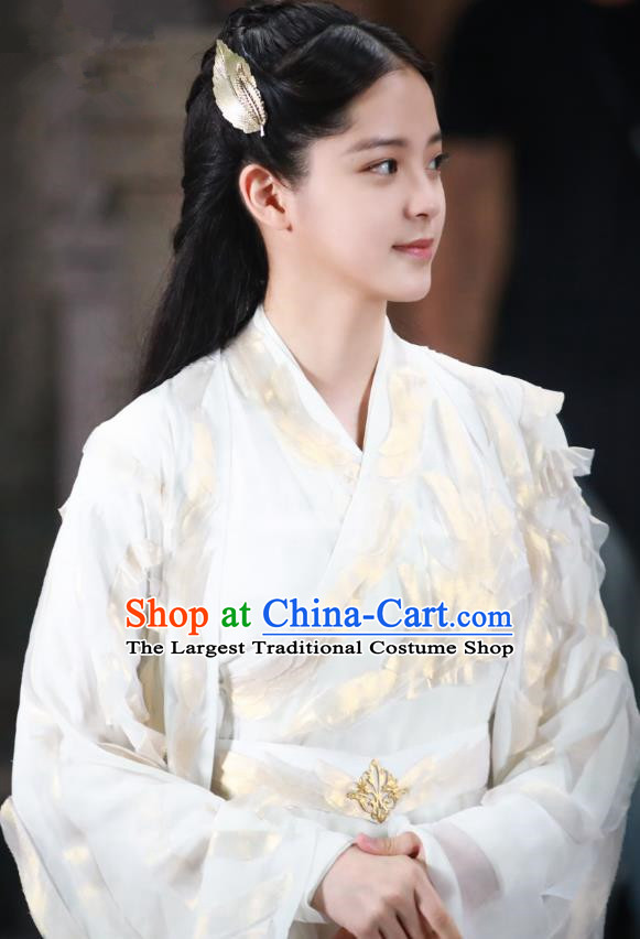 Chinese Ancient Goddess Maiden Luo Li White Dress Historical Drama The Great Ruler Nana Ouyang Costume and Headpiece for Women