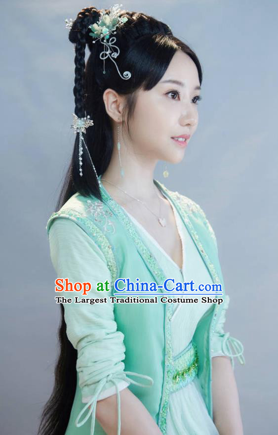 Chinese Ancient Young Lady Sheng Sheng Green Dress Historical Drama Cinderella Chef Costume and Headpiece for Women