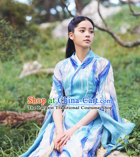 Chinese Ancient Goddess Mu Chen Blue Dress Historical Drama The Great Ruler Costume and Headpiece for Women