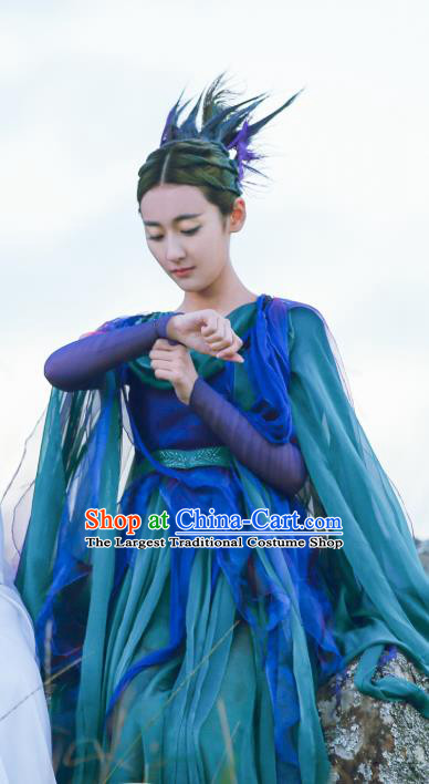 Chinese Ancient Fairy Jiu You Blue Dress Historical Drama The Great Ruler Costume and Headpiece for Women