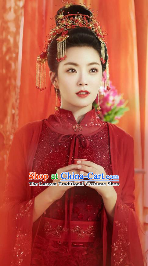 Chinese Ancient Noble Lady Ye Jiayao Wedding Red Dress Historical Drama Cinderella Chef Costume and Headpiece for Women