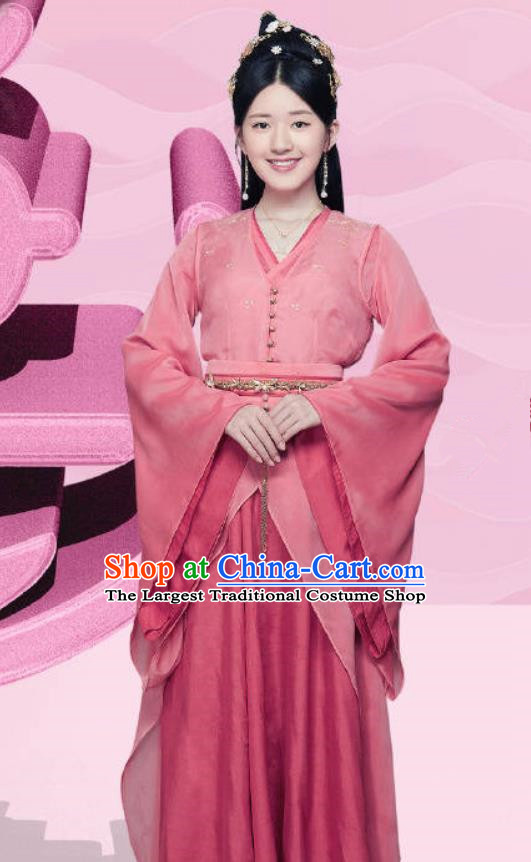Chinese Ancient Courtesan Liu Yiyi Pink Dress Historical Drama Cinderella Chef Costume and Headpiece for Women