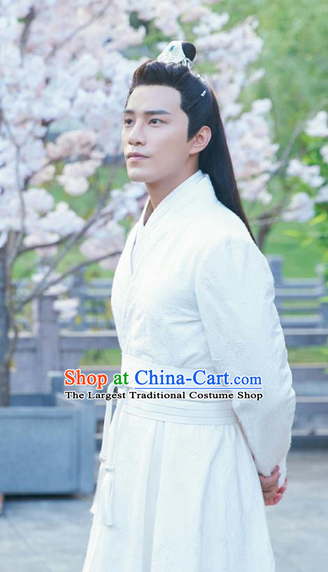 Drama Cinderella Chef Chinese Ancient Swordsman Xia Chunyu White Costume and Headpiece Complete Set