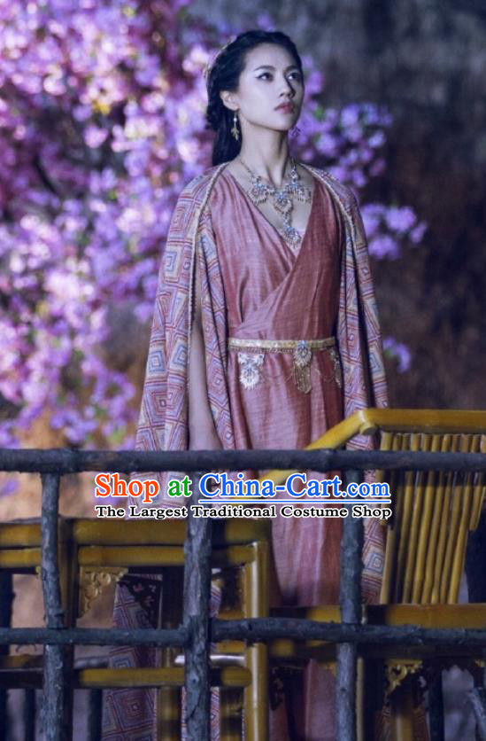 Chinese Ancient Tang Dynasty Infanta Ming Hui Dress Historical Drama An Oriental Odyssey Costume and Headpiece for Women