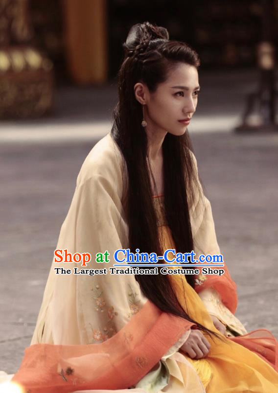 Chinese Ancient Tang Dynasty Infanta Ming Hui Apricot Dress Historical Drama An Oriental Odyssey Costume and Headpiece for Women
