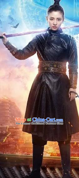 Chinese Ancient Tang Dynasty Female Swordsman Ye Yuanan Dress Historical Drama An Oriental Odyssey Costume and Headpiece for Women
