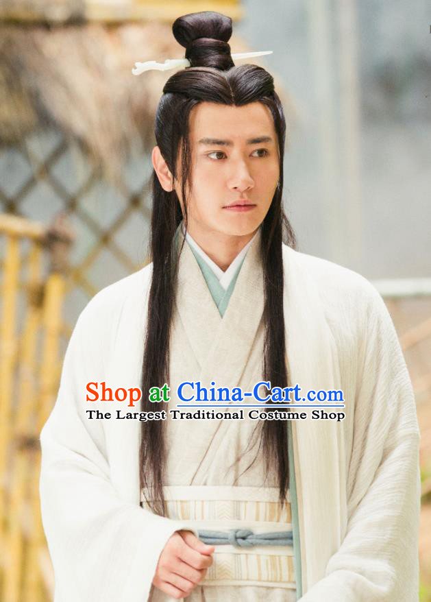 Drama Hero Dream Chinese Ancient Han Dynasty Counselor Zhang Liang Costume and Headpiece Complete Set