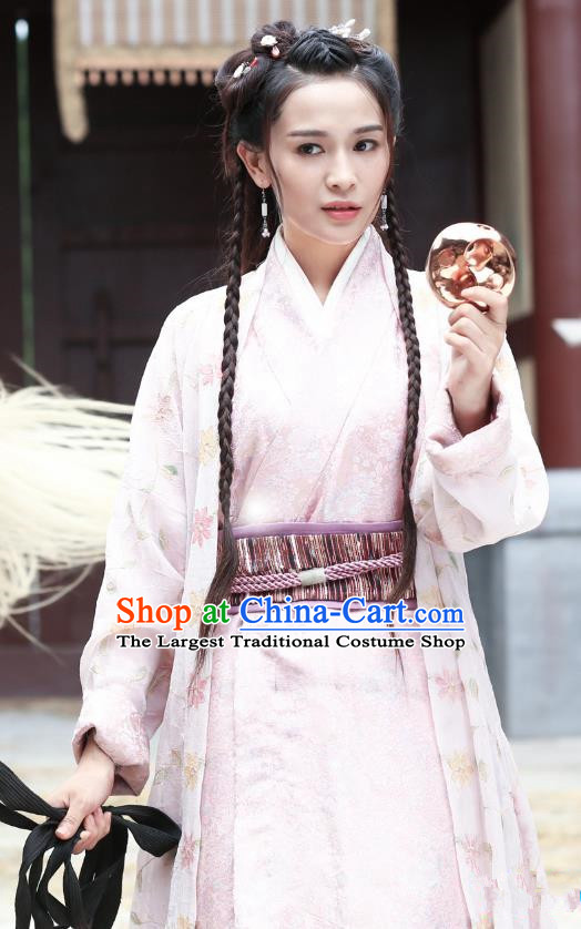 Chinese Ancient Han Dynasty Female Swordsman Ji Jiang Dress Historical Drama Hero Dream Costume and Headpiece for Women