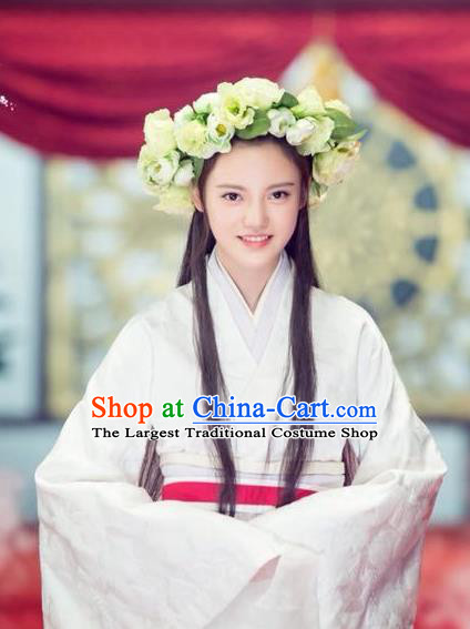 Chinese Ancient Qin Dynasty Noble Lady Tian Yi White Dress Historical Drama Hero Dream Costume and Headpiece for Women