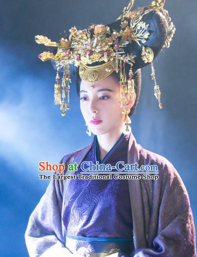 Chinese Ancient Han Dynasty Empress Lv Zhi Purple Dress Historical Drama Hero Dream Costume and Headpiece for Women