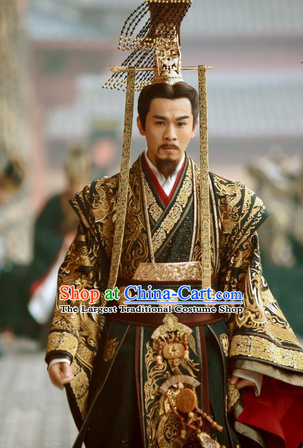 Drama Hero Dream Chinese Ancient Qin Dynasty First Emperor Ying Zheng Costume and Headpiece Complete Set