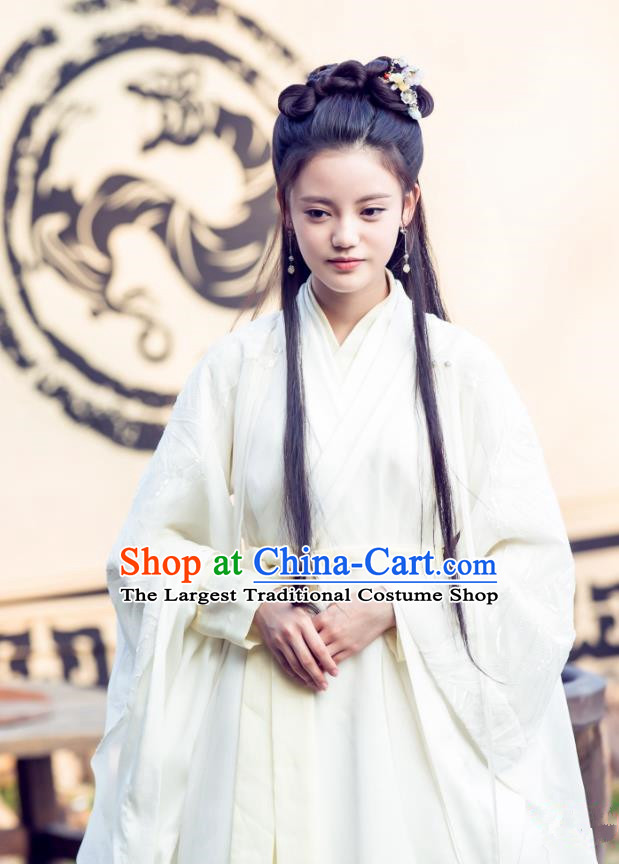 Chinese Ancient Han Dynasty Noble Lady Tian Yi White Dress Historical Drama Hero Dream Costume and Headpiece for Women
