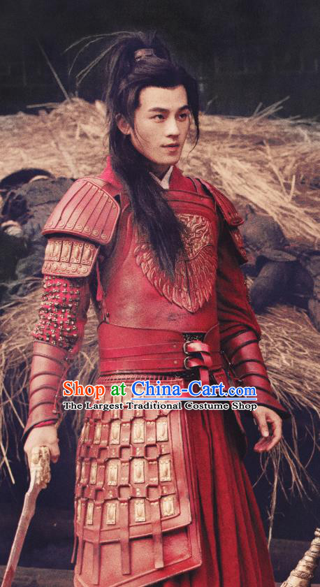 Drama Hero Dream Chinese Ancient Han Dynasty General Han Xin Red Armor Costume and Headpiece Complete Set