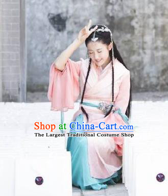 Chinese Ancient Princess A Ruan Pink Dress Historical Drama Cinderella Chef Costume and Headpiece for Women