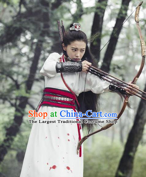 Chinese Ancient Han Dynasty Female Swordsman Yu ji Dress Historical Drama Hero Dream Costume and Headpiece for Women