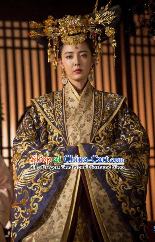 Chinese Ancient Han Dynasty Queen Lv Zhi Dress Historical Drama Hero Dream Costume and Headpiece for Women