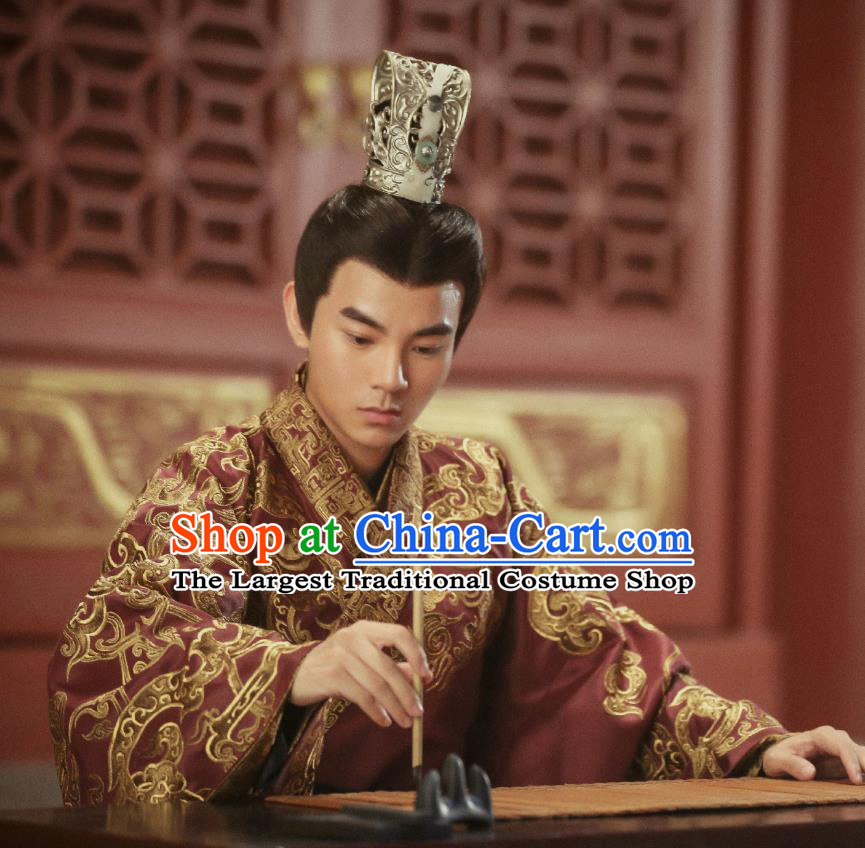 Drama Hero Dream Chinese Ancient Han Dynasty Minister Xiao He Costume and Headpiece Complete Set