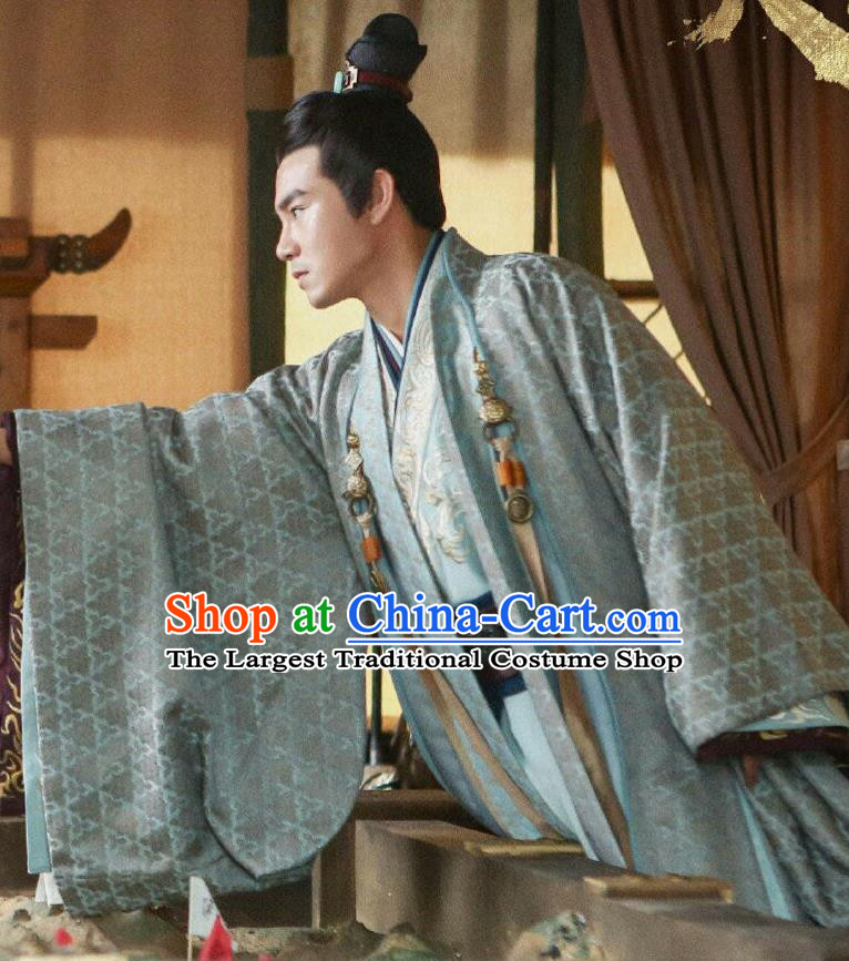 Drama Hero Dream Chinese Ancient Chu King Xiang Yu Costume and Headpiece Complete Set