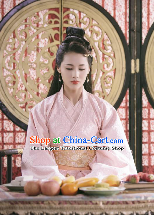 Chinese Ancient Tang Dynasty Princess Ming Hui Pink Dress Historical Drama An Oriental Odyssey Costume and Headpiece for Women