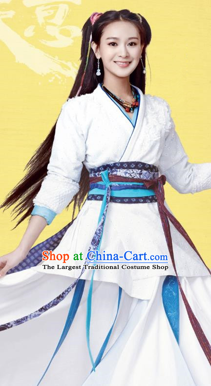 Chinese Ancient Qin Dynasty Female Swordsman Ji Jiang Dress Historical Drama Hero Dream Costume and Headpiece for Women