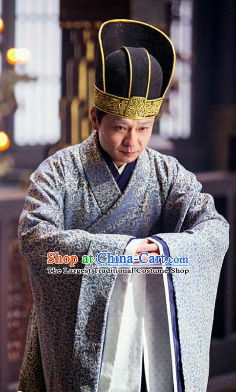 Drama Hero Dream Chinese Ancient Han Dynasty Minister Costume and Headpiece Complete Set
