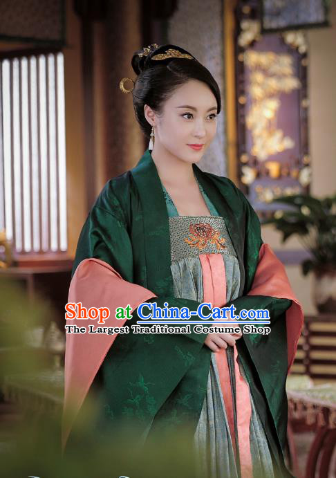 Chinese Ancient Tang Dynasty Queen Wu Zetian Dress Historical Drama An Oriental Odyssey Costume and Headpiece for Women