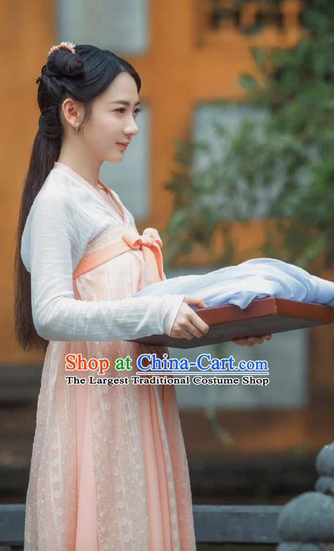 Chinese Ancient Court Maid Dress Historical Drama Dr Cutie Costume and Headpiece for Women