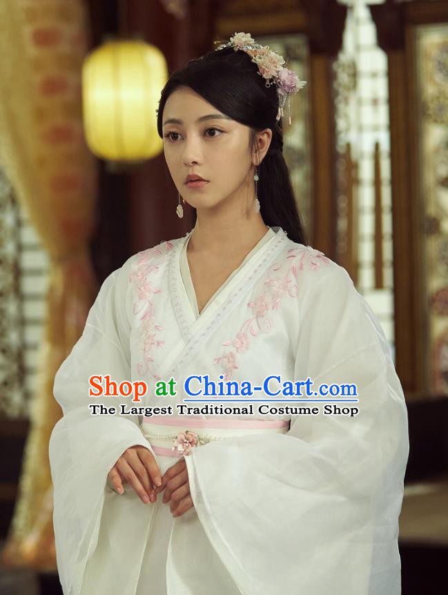 Chinese Ancient Royal Infanta Liu Li Dress Historical Drama Cinderella Chef Costume and Headpiece for Women
