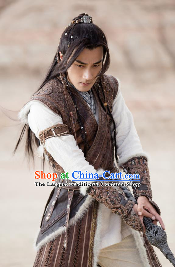 Drama The Legend of Jade Sword Chinese Ancient Swordsman Ji Ning Hawick Lau Costume and Headpiece Complete Set
