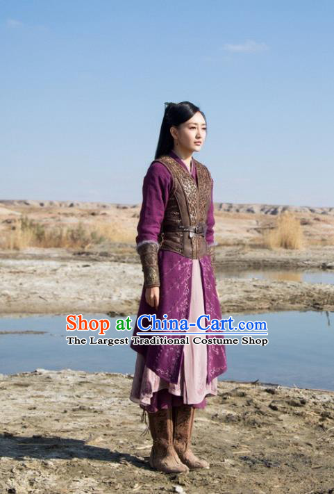 Chinese Ancient Fairy Swordsman Yu Wei Dress Historical Drama The Legend of Jade Sword Angel Costume and Headpiece for Women