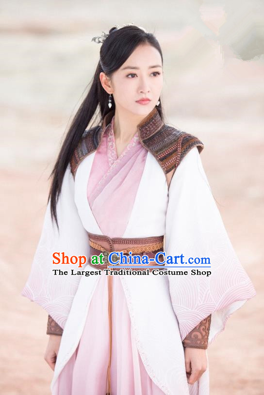 Chinese Ancient Swordsman Yu Wei Dress Historical Drama The Legend of Jade Sword Wang Ou Costume and Headpiece for Women