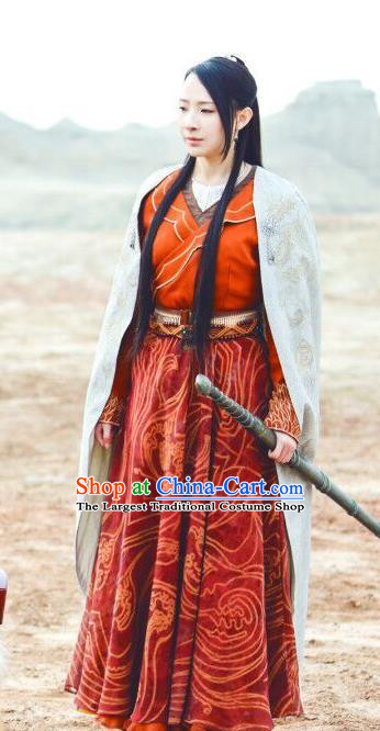 Chinese Ancient Female Swordsman Mo Chen Historical Drama The Legend of Jade Sword Costume and Headpiece for Women
