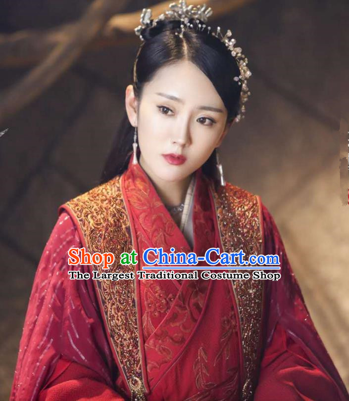 Chinese Ancient Princess Xi Yue Red Dress Historical Drama The Legend of Jade Sword Costume and Headpiece for Women