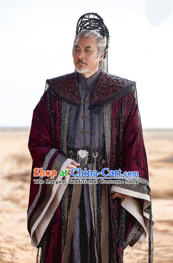Drama The Legend of Jade Sword Chinese Ancient Taoist Priest Xuan Ji Purplish Red Costume and Headpiece Complete Set